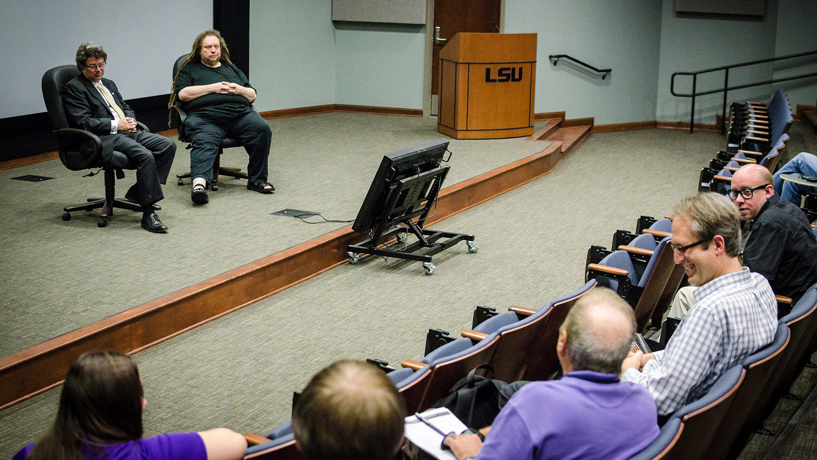 Dr. Stephen Beck (L) hosts a Q&A session with scientist, musician, and author Jaron Lanier (R) using Constellation's voice lift feature. Photo credit: Alice Wack Stout / LSU College of Music & Dramatic Arts