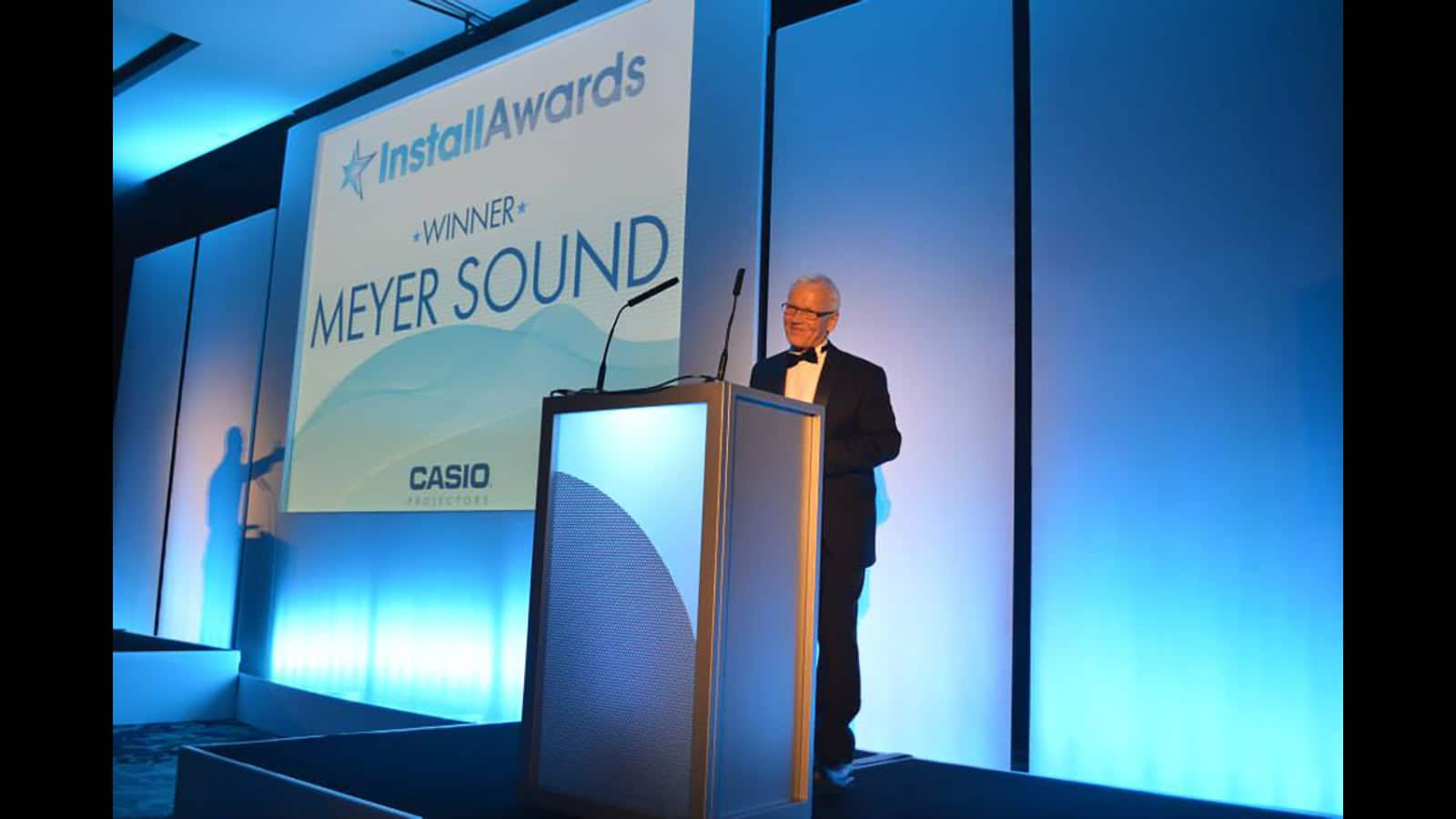 John Pellowe, Constellation project director for Meyer Sound, accepts the Teamwork Award for the Exploratorium