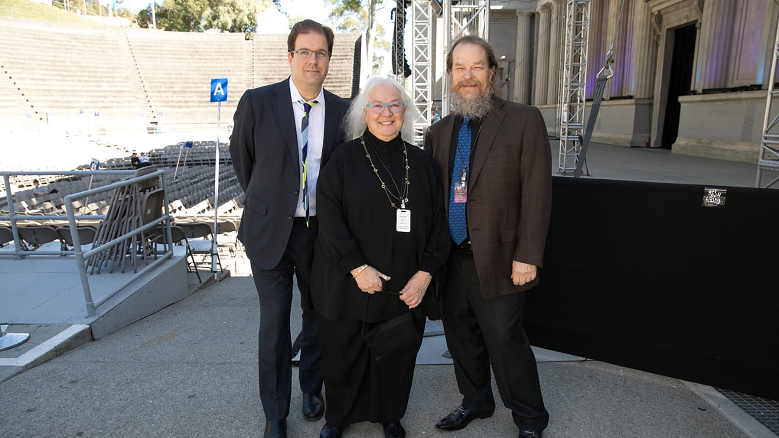 Helen Meyer joins John Meyer and director of Cal Performances Matias Tarnopolsky (left) at the Gala at the Greek, where she served as co-chair