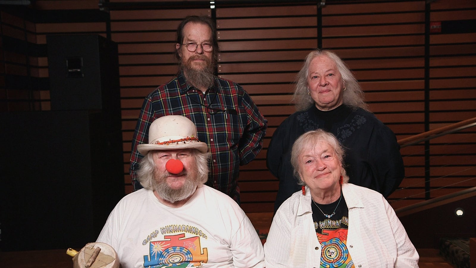 John and Helen Meyer host Wavy Gravy for his 81st Birthday Benefit at Pearson Theatre (Bottom Left to Right: Wavy Gravy, Jahanara Romney)