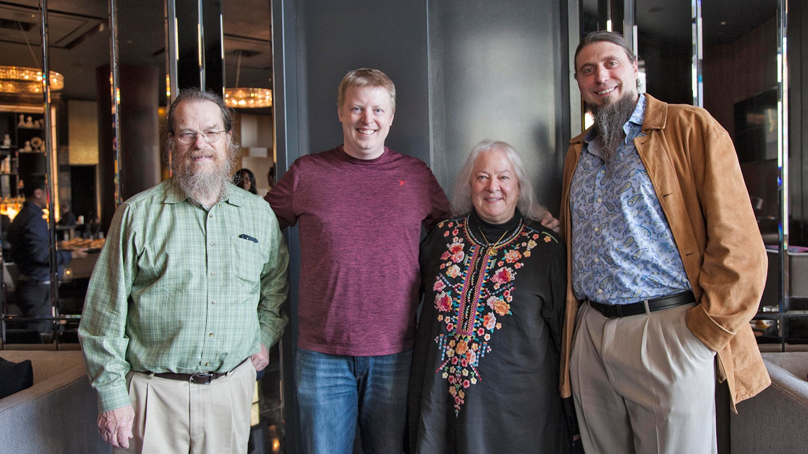 John and Helen pose with Broadway sound designers Andrew Keister (2nd from left) and Nicholas Pope (right) after the NYC LINA Demo event