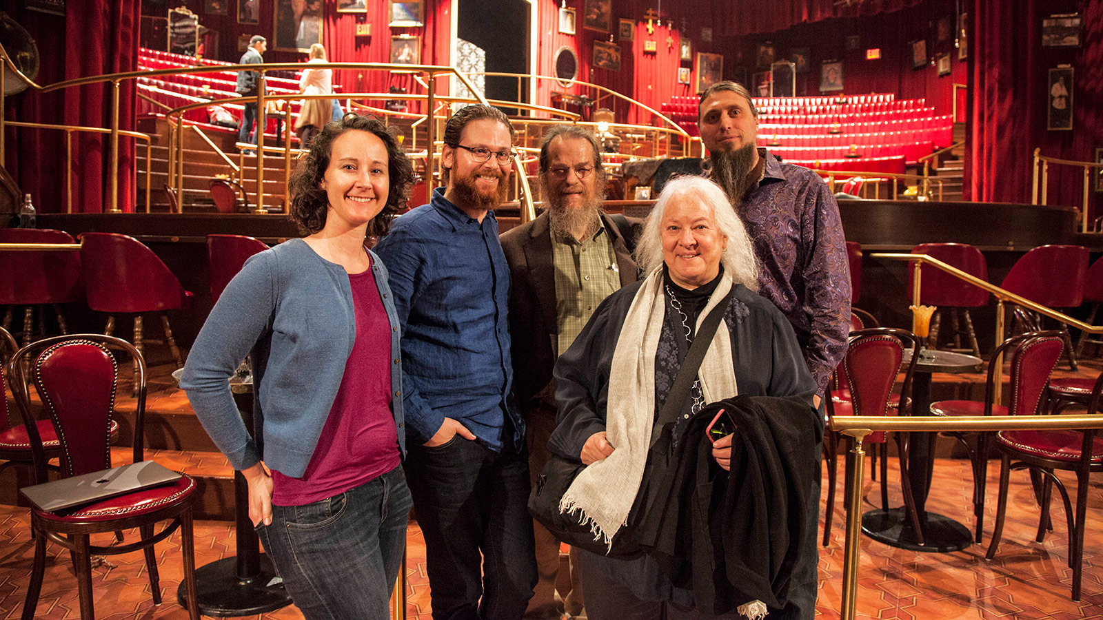 "John and Helen Meyer pose with some of ""The Great Comet"" sound design team during a post-show tech talk at the Imperial Theatre (Left to Right: Beth Lake, Sam Lerner, John Meyer, Helen Meyer, Nicholas Pope)"