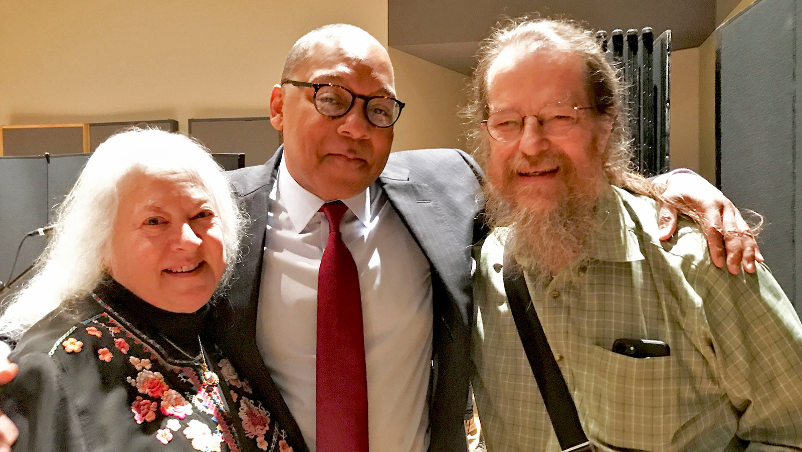 John and Helen Meyer say hello to Jazz at Lincoln Center (JALC)'s artistic director Wynton Marsalis before the LINA NYC Demo Event at the JALC's Rose Theater