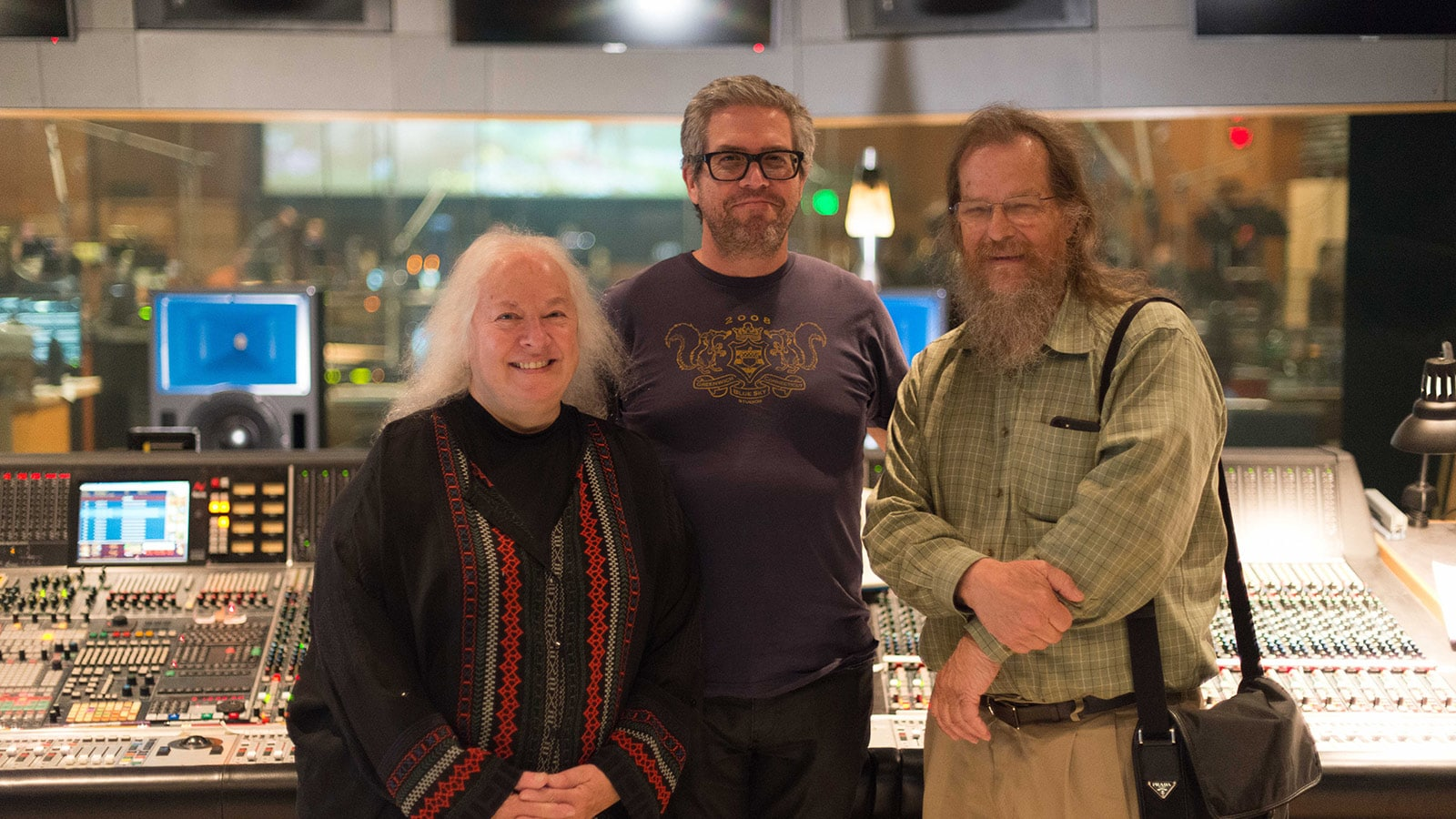 Left to right: Helen Meyer, Executive VP of Meyer Sound; John Powell; John Meyer, CEO of Meyer Sound.