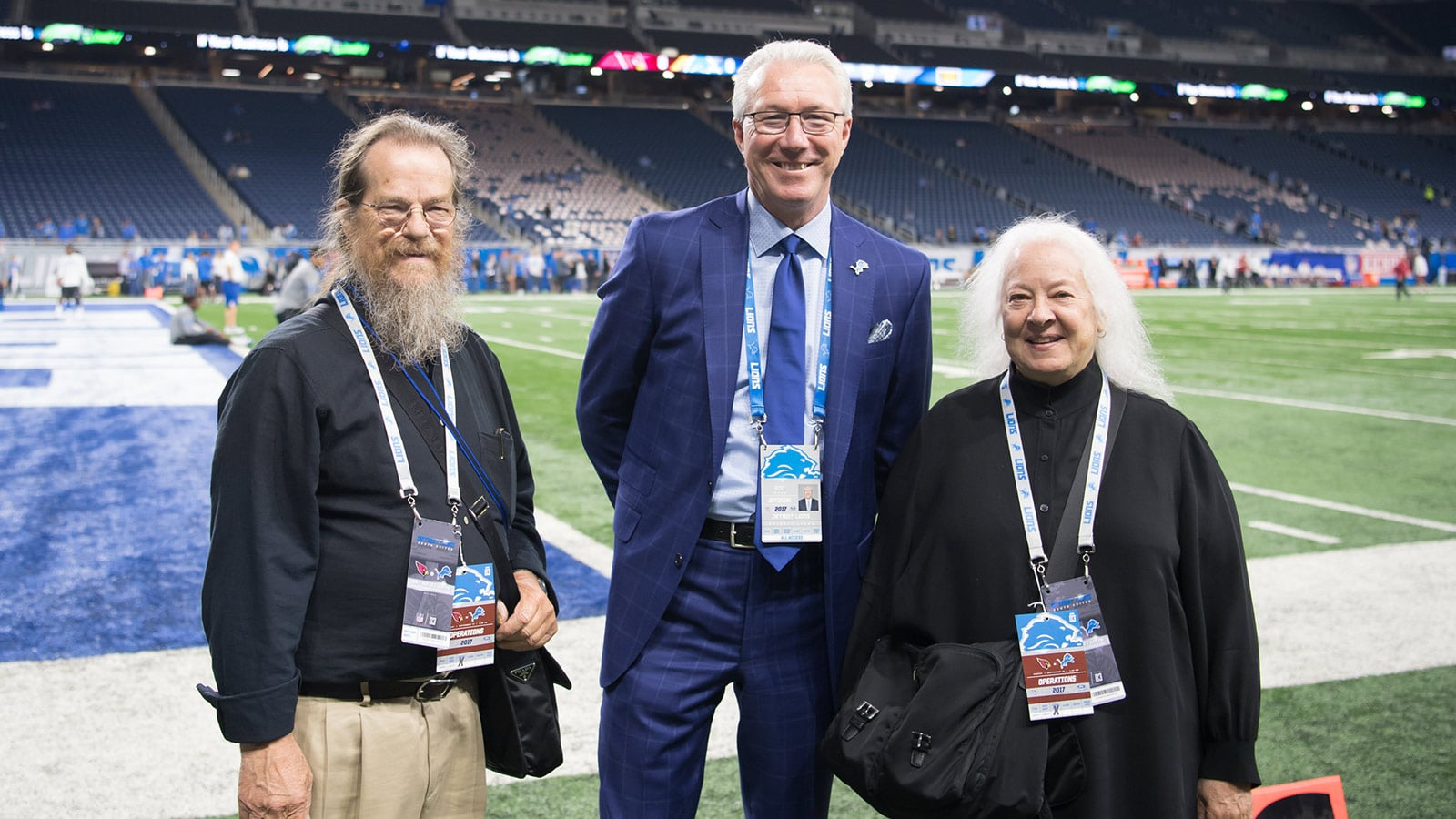 John Meyer, Detroit Lions President Rod Wood, Helen Meyer