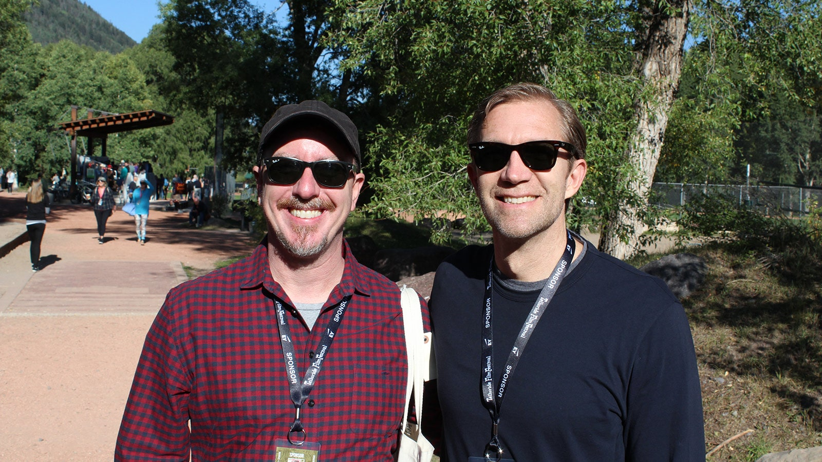Dolby Institute Director Glenn Kiser and Joshua Lowden of Skywalker Sound in line to see Darkest Hour at the Herzog Theatre.