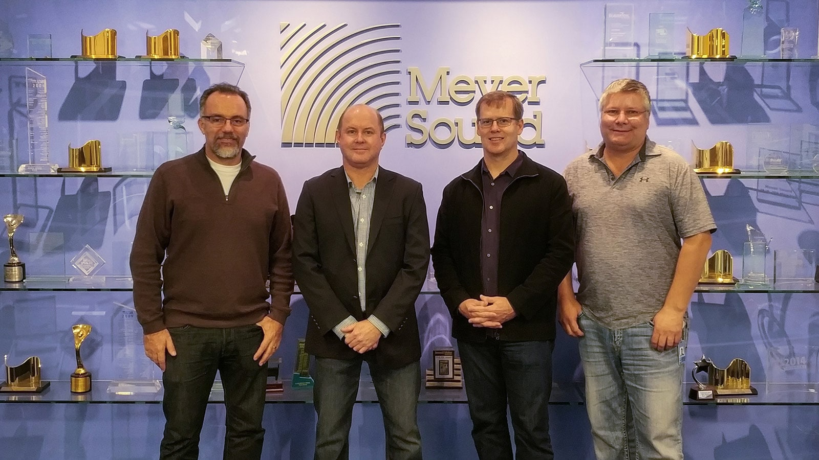 Left to right: Antonio Zacarias, Vice President of Global Customer Engagement; Don McConnell and Jeff Shoesmith of Audio Brands Australia; John McMahon, Vice President of Solutions and Strategy
