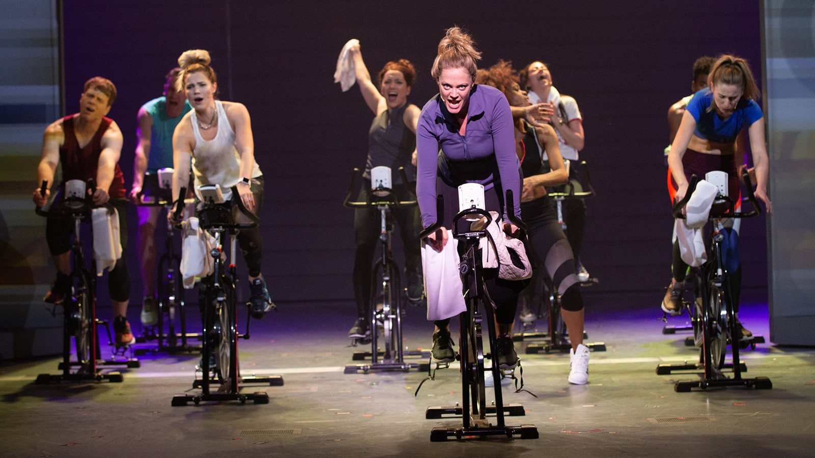 Elizabeth Stanley as Mary Jane Healy and The Chorus in American Repertory Theater's Jagged Little Pill