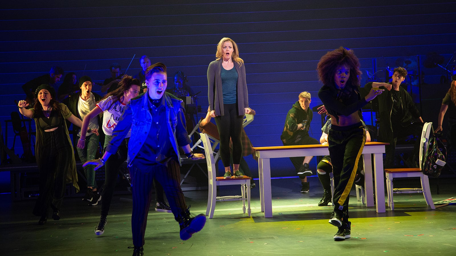Elizabeth Stanley as Mary Jane Healy and The Chorus of American Repertory Theater's Jagged Little Pill