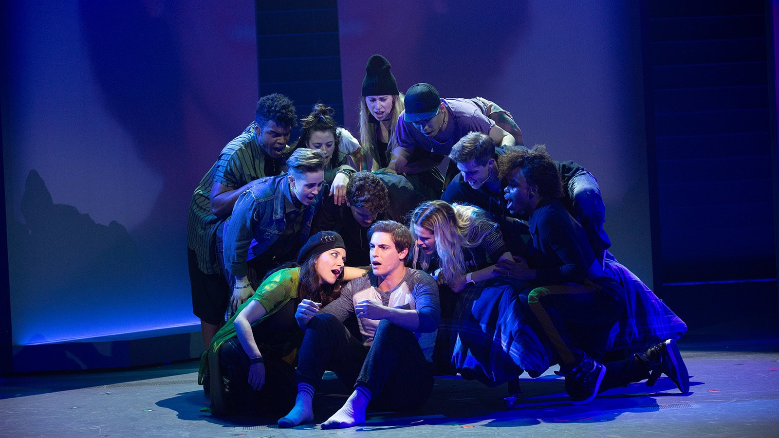 Derek Klena as Nick Healy and The Chorus of American Repertory Theater's Jagged Little Pill