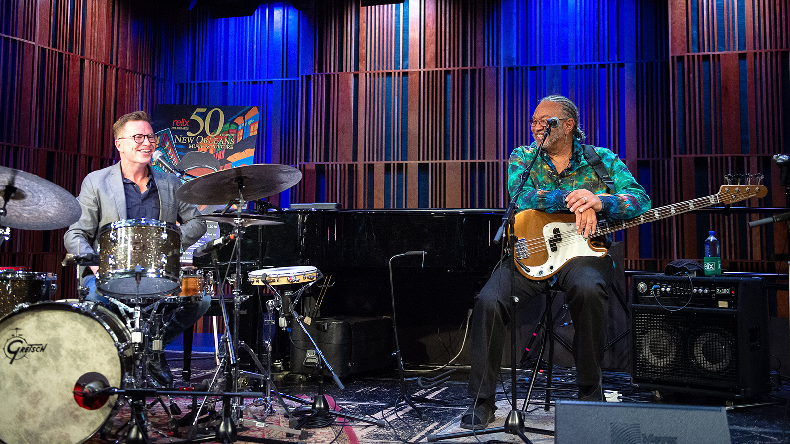 (L to R) Galactic drummer Stanton Moore and The Meters bassist George Porter, Jr.