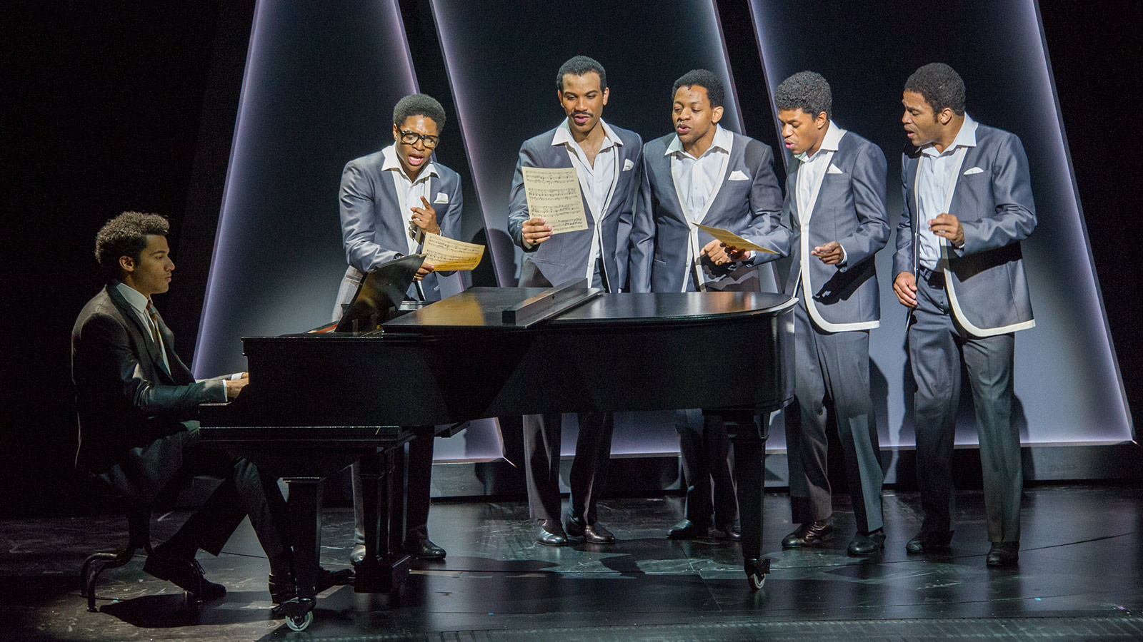 (l to r) Christian Thompson (Smokey Robinson), Ephraim Sykes (David Ruffin), Jared Joseph (Melvin Franklin), Derrick Baskin (Otis Williams), Jeremy Pope (Eddie Kendricks), and James Harkness (Paul Williams) in the world premiere of Ain't Too Proud—The Life and Times of The Temptations at Berkeley Repertory Theatre.