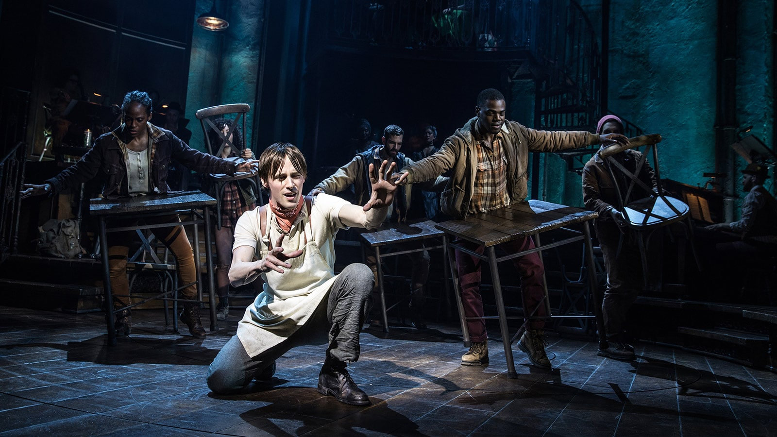 Reeve Carney and the Broadway cast of Hadestown