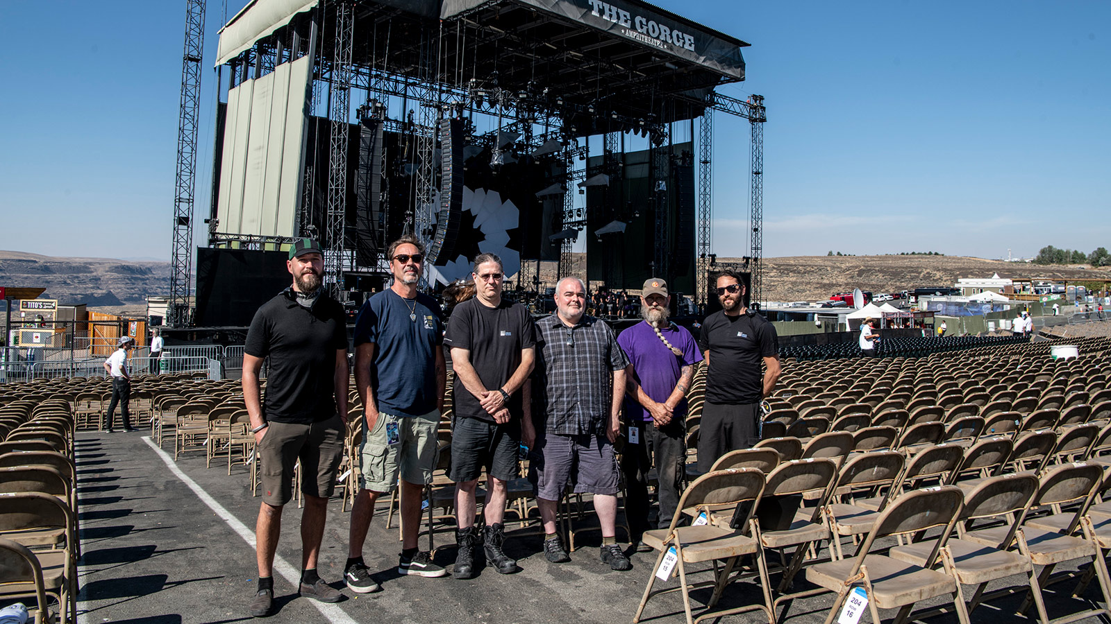 Dave Matthews Band and UltraSound Crew at The Gorge (L-R): Michal Kacunel, Systems Engineer; Joe Lawlor, Recording Tech; Greg Botimer, Monitor Tech; Ian Kuhn, Monitor Engineer; Lonnie Quinn, Monitor System Engineer; Sam Brodsky, PA Tech