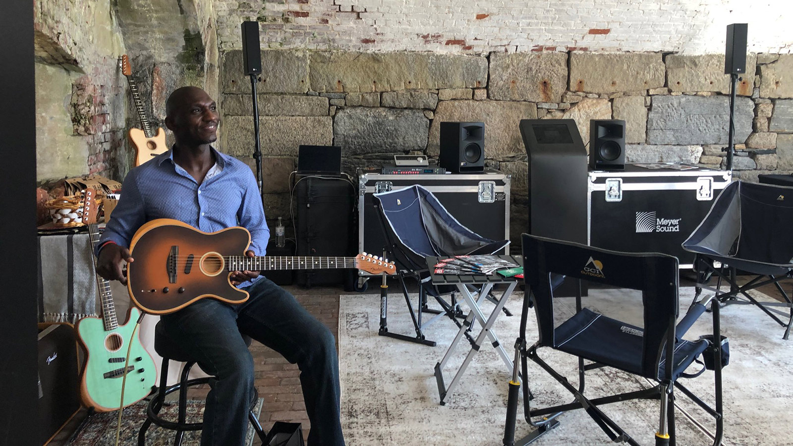 Cedric Burnside at the Relix Roadie Lounge at Newport Folk Festival