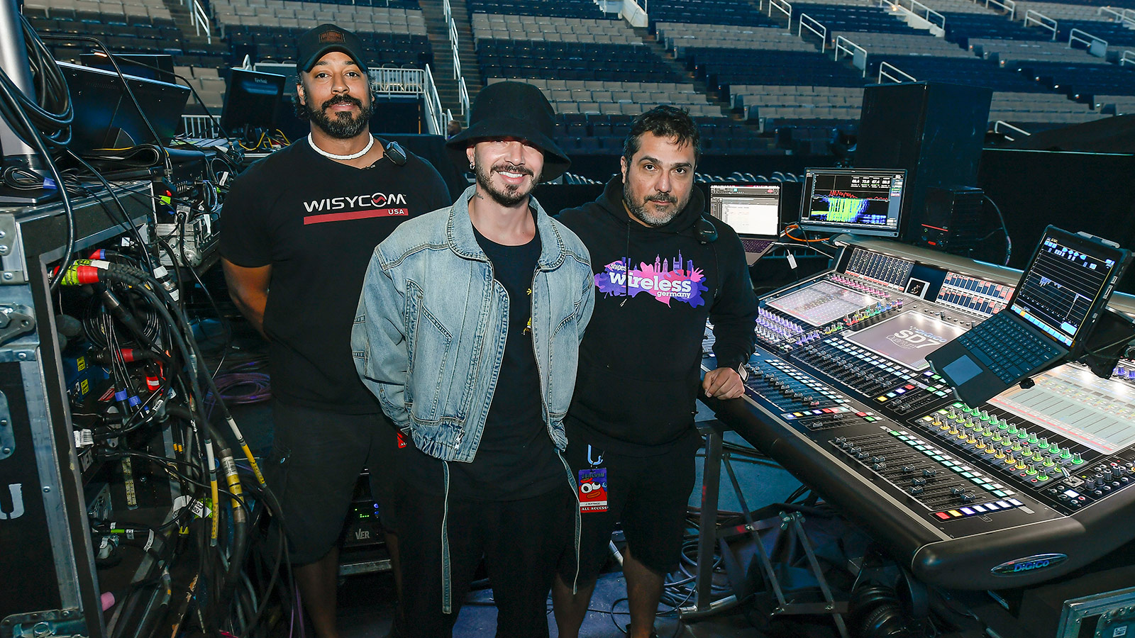 Frank Peoples, PRG Audio System Tech; J Balvin; John Buitrago, FOH Engineer