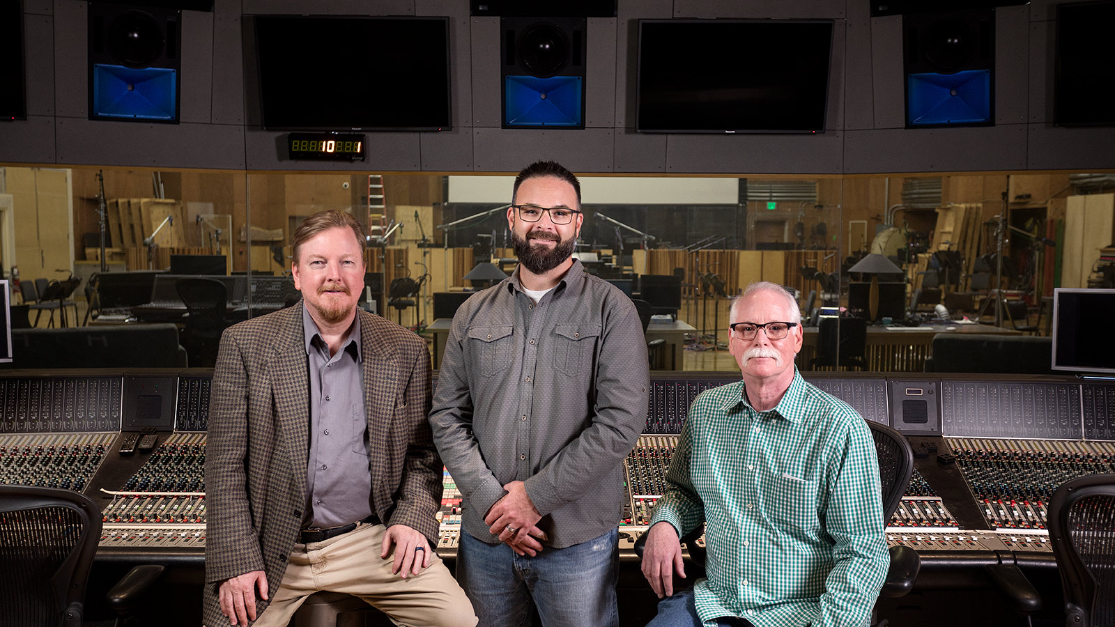 (L-R) Erin Michael Rettig, Newman Scoring Stage Supervising Engineer; Miles Rogers, Meyer Sound Business Development Manager, Cinema and Content Creation Markets; Marc Gebauer, Newman Scoring Stage Chief Engineer